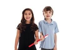 Kinder mit Zahnbürste Lizenzfreie Stockfotografie