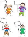 Kinder mit Zeichen Lizenzfreies Stockfoto
