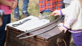 Kinder neugierig über Arme des kalten Stahls stock video