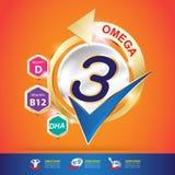 Kinder-Omega-Kalzium-und -vitamin-Konzept Logo Gold Kids Lizenzfreie Stockfotografie