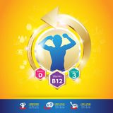 Kinder-Omega-Kalzium-und -vitamin-Konzept Logo Gold Kids Stockfotografie
