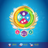 Kinder-Omega-Kalzium-und -vitamin-Konzept Logo Gold Kids Stockbilder