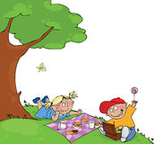 Kinder am Picknick stock abbildung
