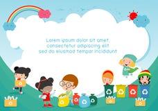 Kinder sammeln Abfall für die Wiederverwertung, die Kinder, die Abfall trennen, retten die Welt, Schablone für Werbungsbroschüre, stock abbildung