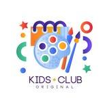 Kinder schlagen Logo, buntes kreatives Aufkleberschablonen-, -spielplatz-, -unterhaltungs- oder -wissenschaftsbildungslehrplanklu vektor abbildung