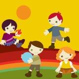 Kinder schließen sich Herbst an