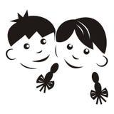 Kinder, schwarzes Schattenbild Stockbilder