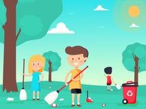 Kinder sind ausgedehnt säubernd und den Spielplatz lizenzfreie abbildung