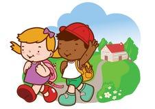 Kinder sind zurück von der Schule stock abbildung