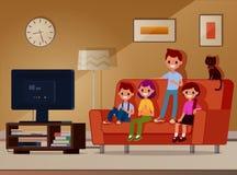 Kinder sitzen im dem Couch- und Uhrfernsehen Auch im corel abgehobenen Betrag Die Art ist flach Überlagert, einfach zu bearbeiten lizenzfreie abbildung