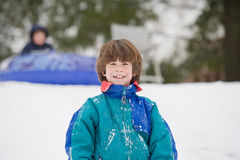 Kinder Sledding Stockfoto