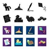 Kinder spielen Schwarzes, flet Ikonen in der Satzsammlung für Design Spiel und Flitter vector Netzillustration des Symbols auf La Lizenzfreie Stockfotografie