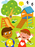 Kinder am Spielplatz. lizenzfreie abbildung