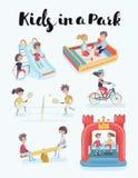 Kinder am Spielplatzclipartsatz Stockfotografie