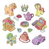 Kinder spielt Vektorkarikaturspiele für Kinder im Spielzimmer und das Spielen mit kindischem Auto oder mädchenhaftem Puppenspazie vektor abbildung