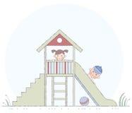 Kinder spielten onslide Lizenzfreie Stockfotos
