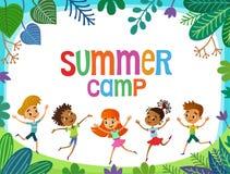 Kinder springen auf die Lichtung, lustiger Vektor bunner Karikatur, Illustration stock abbildung