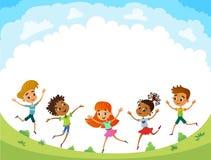 Kinder springen auf die Lichtung, lustiger Vektor bunner Karikatur, Illustration lizenzfreie abbildung