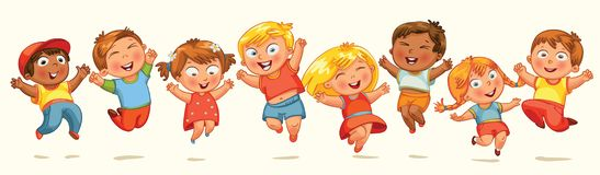 Kinder springen für Freude. Fahne Stockfotos