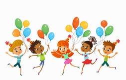 Kinder springen lustigen Vektorcharakter ob Sommerhintergrund bunner Karikatur Abbildung vektor abbildung