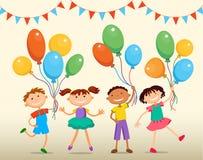 Kinder springen lustigen Vektorcharakter ob Sommerhintergrund bunner Karikatur Abbildung lizenzfreie abbildung