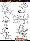 Kinder stellten Karikaturfarbtonseite ein Stockfotos