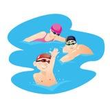 Kinder tragen mit den Eltern zur Schau, die an der Poolvektorillustration schwimmen Lizenzfreie Stockfotografie