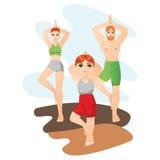 Kinder tragen mit den Eltern zur Schau, die Yoga vector tun zusammen, Illustration Lizenzfreie Stockfotografie