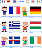 Kinder u. Markierungsfahnen - Europa [3] stock abbildung