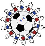 Kinder um einen Fußball vektor abbildung