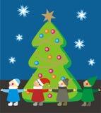 Kinder um einen Weihnachtsbaum stock abbildung