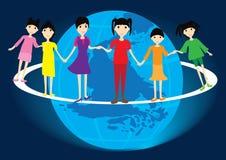 Kinder um Welt Lizenzfreie Stockfotos