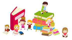 Kinder und Bücher Lizenzfreie Stockbilder