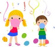 Kinder und Ballon vektor abbildung