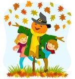 Kinder und eine Vogelscheuche im Herbst vektor abbildung