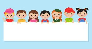 Kinder und Fahne lizenzfreie abbildung