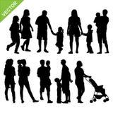 Kinder und Familienschattenbildvektor vektor abbildung