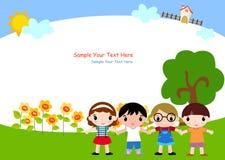 Kinder und Feld Lizenzfreies Stockfoto