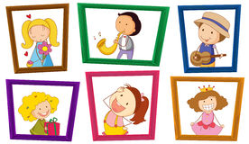 Kinder und Fotorahmen Lizenzfreie Stockfotos