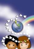 Kinder und Frieden stockfoto