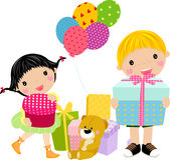 Kinder und Geschenkkasten Stockbilder