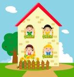 Kinder und Haus vektor abbildung