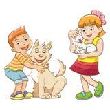 Kinder und Haustiere. Lizenzfreie Stockfotos