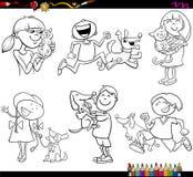 Kinder und Haustiere eingestellte Färbungsseite Lizenzfreies Stockfoto