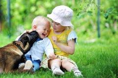 Kinder und Hund Stockbilder