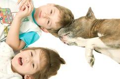 Kinder und Hund Stockfotos