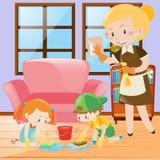 Kinder und Mädchen, die das Haus säubern Lizenzfreie Stockbilder