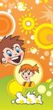 Kinder und Popcorn Stockbild