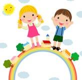 Kinder und Regenbogen vektor abbildung