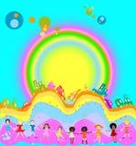 Kinder und Regenbogen lizenzfreie abbildung